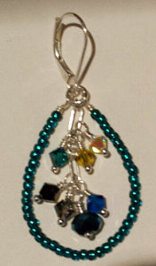 Peacock-blue earrings