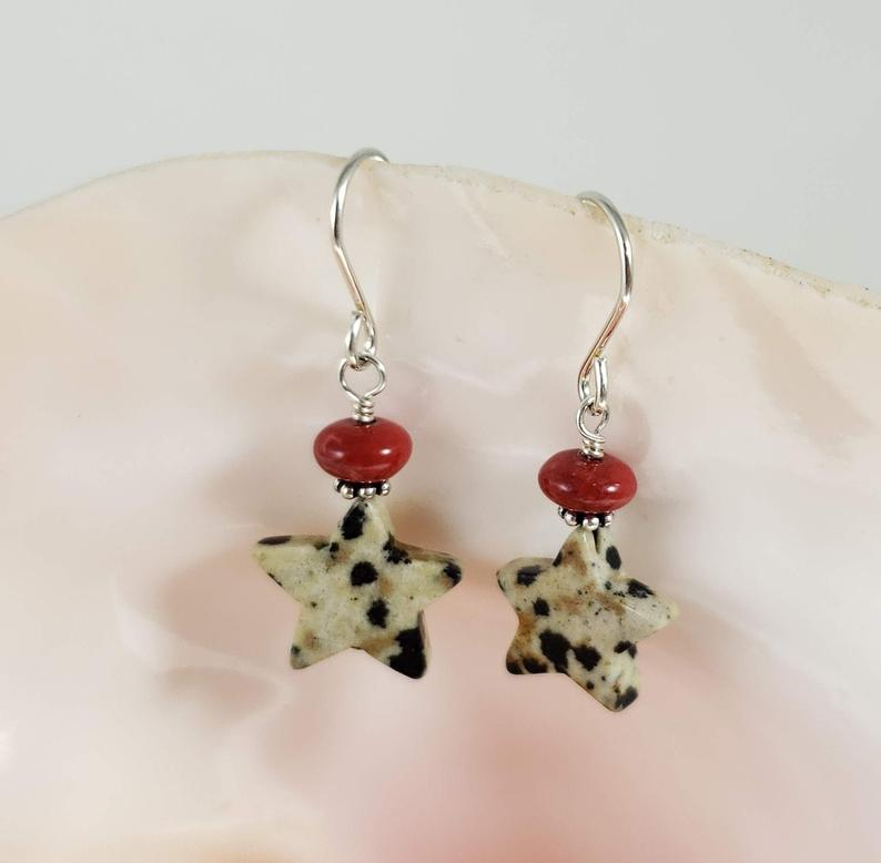 Dalmation Jasper Star earrings with howlite beads