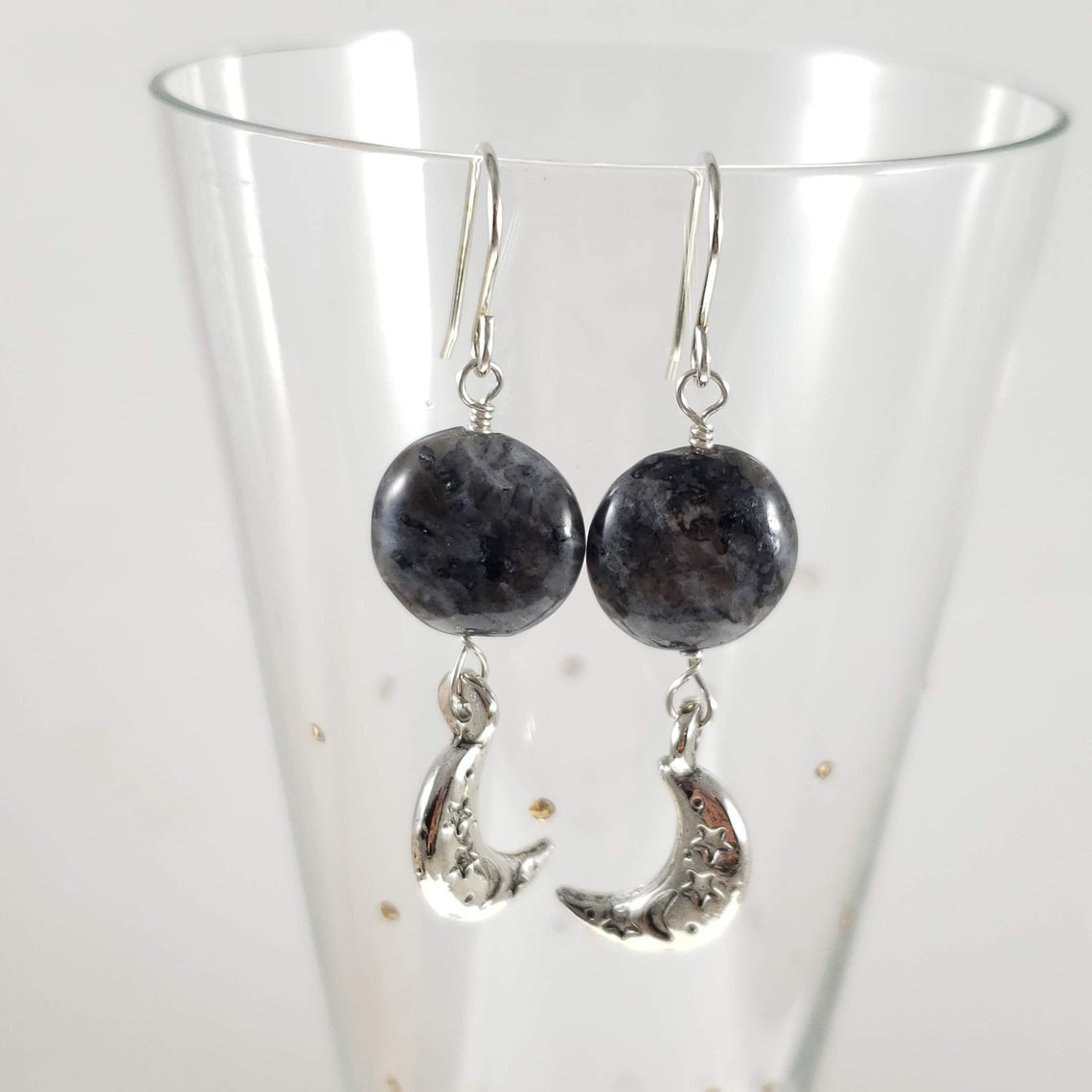 Pewter moon earrings with black labradorite