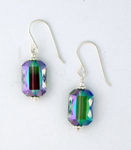AB crystal earrings wrapped in sterling silver
