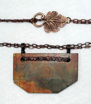 Red Creek Jasper on burnished copper wire