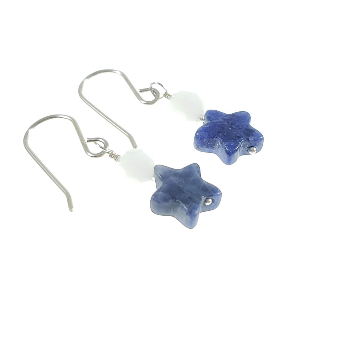 Sodalite and crystal star earrings