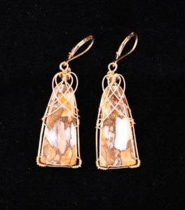Spiny Oyster earrings wrapped with gold wire