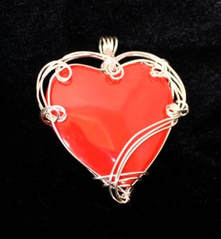 Sponge Coral Heart Pendant wrapped in Sterling Silver wire