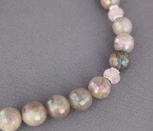 Labradorite and Rose Quartz beads accent the Cream Rose Agate