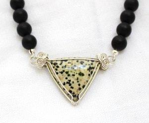 Dalmation Jasper with Matte Black Onyx Beads