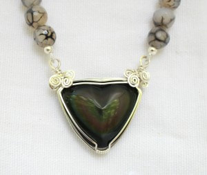Rainbow Obsidian with Fire Agate neck  beads