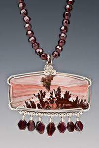 Apache Rhyolite.  A custom Necklace with Garnets and Sterling Silver
