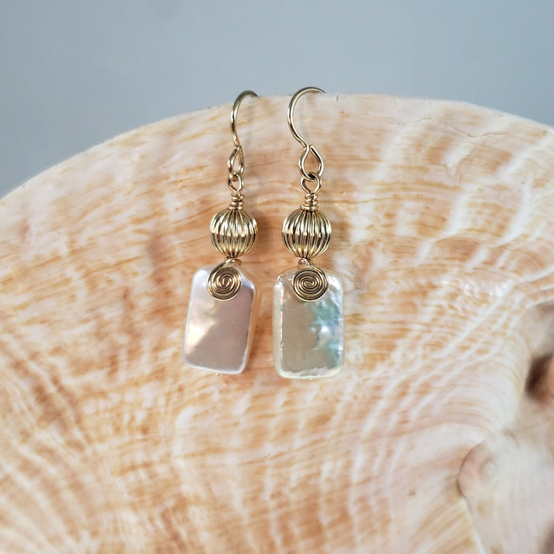 Rectangle Pearl Earrings