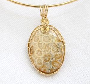 Natural Fossilized Coral Pendant wrapped in Gold wire