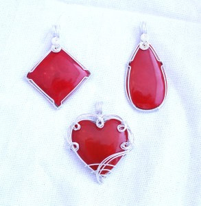 Sponge Coral...Lovely, red, sponge coral pendants