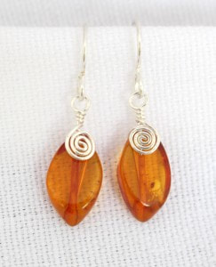 Amber Leaf earrings, crystal clear orange wrapped in sterling silver