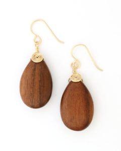 Wood teardrop earrings wrapped in gold wire