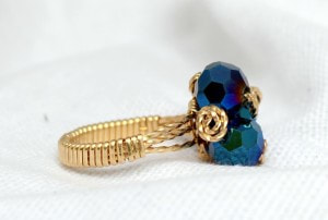 Blue Three Bead Cluster Ring in Gold