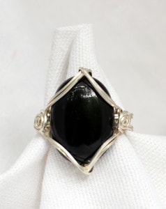 Adjustable Gemstone Ring Black Onyx and Silver
