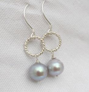 gray pearl earrings